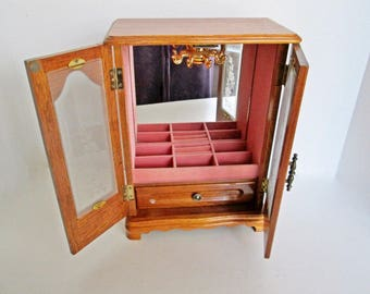 Wood Armoire Jewelry Box by J.F. Wood Industry, Dresser Organizer Bottom Drawer, Vintage pink lining, ring rolls, necklace carousel