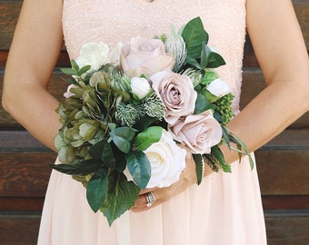 Handmade Faux Wedding Bouquet with Anemones, Roses and Greenery
