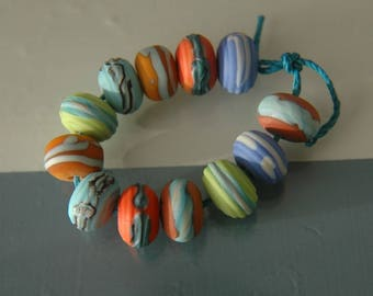 Lampwork Glass Retro Soft-etched Bead Set (12 donuts)