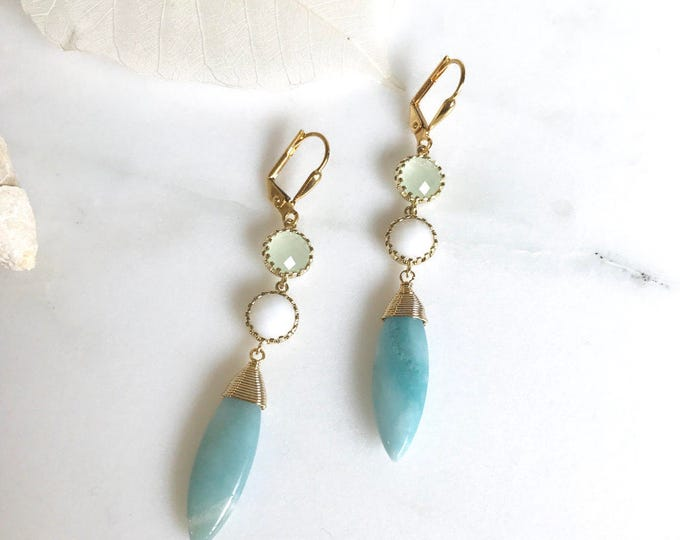 SALE - Amazonite Dangles with Mint and White Stones. Dangle Earrings. Drop Earrings. Jewelry.