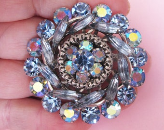 Stunning 1950's Large Blue and AB Diamente Brooch