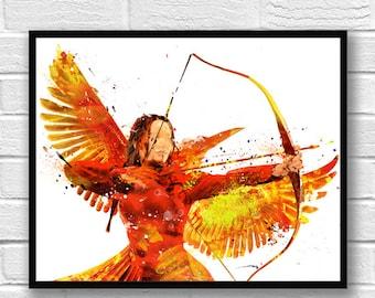 Hunger Games Watercolor Print, Katniss Everdeen Art, Mockingjay, Movie Poster, Home Decor, Kids Room Decor, Fan, Watercolor Painting - 506
