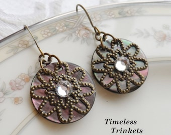 Selma, Antique Mother of Pearl Shell Button/Sequin Earrings, Dark Shell