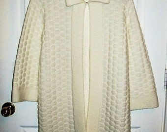 Vintage 1960s Ladies Off White Cardigan Sweater Jacket Banff Sweater Bee Small Only 6 USD