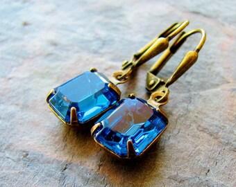 Capri Blue - Vintage Swarovski Crystal Drop Earrings