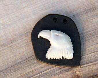 CLEARANCE Carved bone eagle head pendant / carved tribal eagle pendant / bone ebony pendant / bone pendant