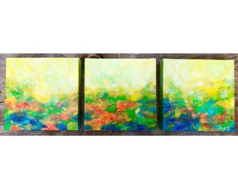 "Original Set of 3 paintings, small abstract art, Triptych canvas, abstract landscape , 6x6x3"", Small art,Acrylic painting, small art HaAiArt"