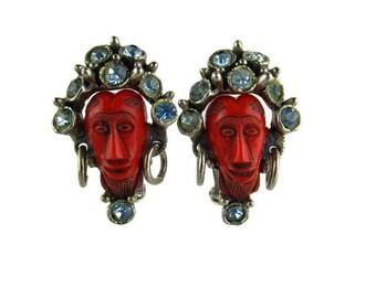 Selro Red African Faces Bracelet/ Selini Aqua Blue Rhinestone Crown/ Shrunken Head Panel Bracelet / Selro Silver Tone Red Cabochons Bracelet