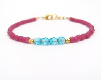 Dark Rose Aqua Blue Bracelet, Seed Bead Bracelet, Friendship Bracelet, Bridesmaid Gift, Minimal Bracelet, Fuchsia Bracelet, Hawaiian Jewelry