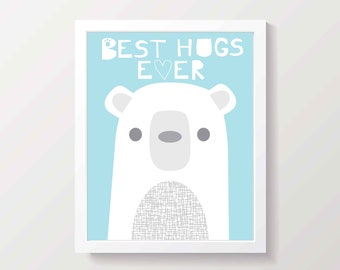 Light Blue Polar Bear Art Print