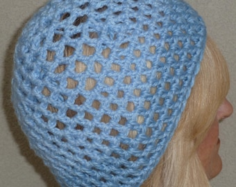 Women's chemo hat, Carolina blue open weaved unique hat, cute lightweight hat, original winter accessory, free shipping USA, gift for her