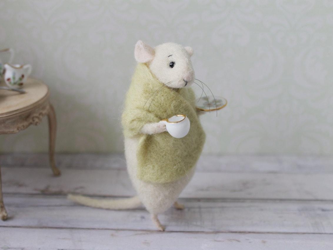 Gefilzte Maus Maus mit einer Tasse Nadel gefilzte Maus süße