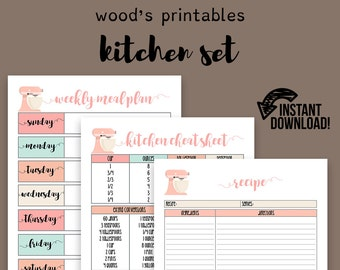 kitchen planner pdf printable home binder household binder home management binder grocery list meal planner meal planning to do list
