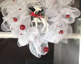 Red & white deer christmas wreath
