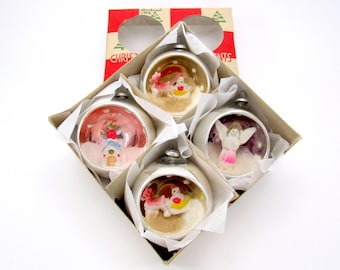 Vintage Glass Diorama Christmas Ornaments 1950s Christmas Decorations Baubles Boxed Set of 4 Japan