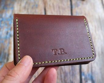 Personalised Leather Card Wallet, Leather Card Holder, Minimalist Card Holder, Gifts For Him, Business Card Holder, Anniversary Gift