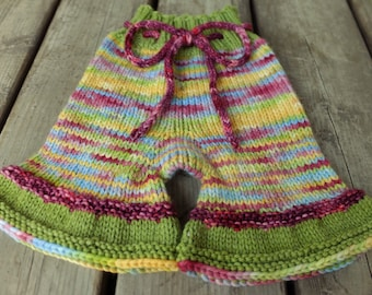 Handknit Wool Shorts, Wool Soaker, Wool Diaper Cover, Cloth Diaper Cover, size M/L, 6-18+ months
