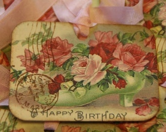 Birthday Gift Tags, Shabby Paris Romantic Happy Birthday Pink Roses and Shoe Gift Tags