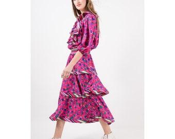Diane Freis / Vintage ruffled gypsy dress / 1980s pink rose floral print / 3 tier peasant style dress / S M
