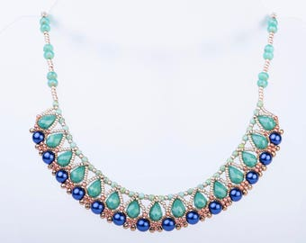 Jasmine Necklace Beading Pattern using Seed Beads, Crystal Drops and Pearls - PDF Tutorial