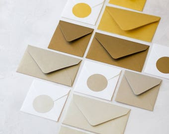 Metallic Envelopes - Mini / Small - 24 pc - Gold / Vintage Gold / Brass Taupe / Champagne