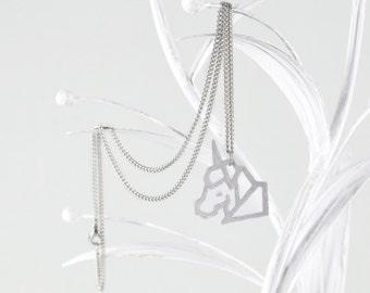 Little Unicorn Pendant Silver & Silver Necklace