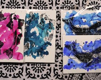 A6 linoprint postcard set of 2