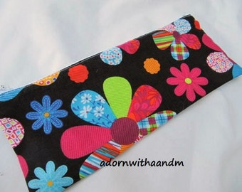 Bright flowers zippered pencil case, pouch, school supply, retro flowers, homeschooling, zippered pouch, crayon case