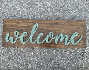 MADE TO ORDER - Welcome Script String Art Wooden Board