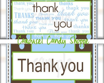 Dotted Thank you Word Art English Candy Bar Wrapper Printable