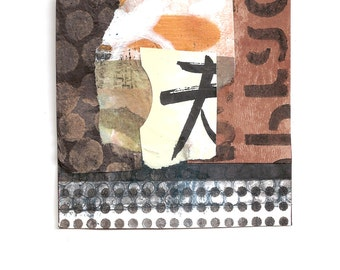 """The Path of Least Resistance - Original Collage with Weathered and Hand Drawn and Painted Papers 4 x 4 on 5 x 5"""" Backing"""