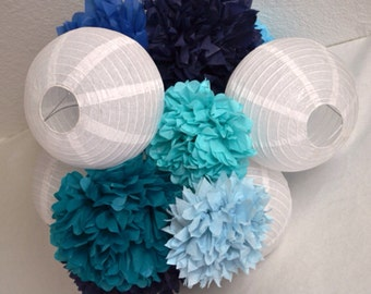 Any Colors) Pre assembled 4 lantern and 10 Pom Poms Hanging Decor