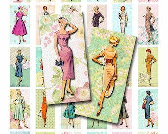 INSTANT DOWNLOAD, Digital Collage Sheet, 1 x 2 inch Domino Size, Retro Vintage Fashion Illustrations