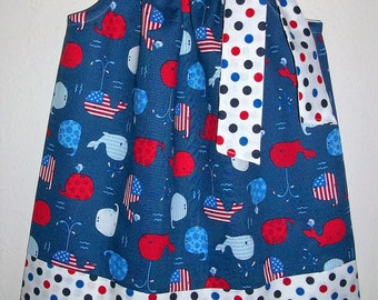 12m Patriotic Dress with Whales Pillowcase Dress Fourth of July Dress Red White & Blue Whale Dress Patriotic Outfit Baby Dress Ready to Ship