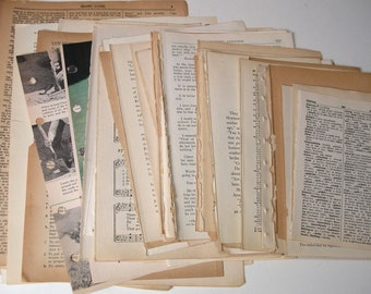 Vintage Book Paper 50 Pieces Collage Journal Supply Mixed Lot Paper Music Scrapbook Supply Junk Journal Paper Paper Ephemera Old Book Pages