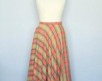 Plaid 1960s Circle Skirt