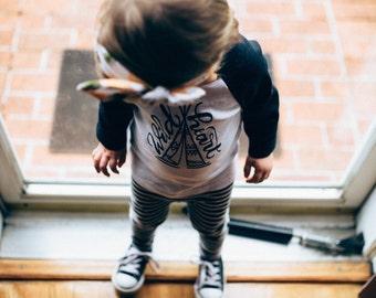 Wild Heart American Apparel Baseball Tee - Size 12/18 months - Made in USA - Raglan Sleeve - Kids shirt - Children's Tee Shirt -