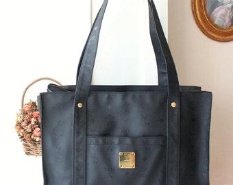 MCM Bag Black Visetos PVC Shoulder Large Handbag Purse Authnetic