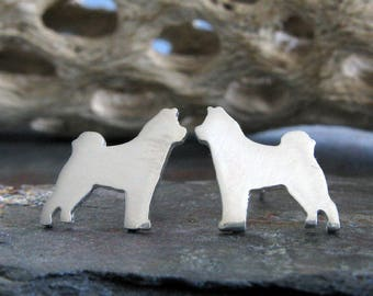 Akita post earrings. Dog silhouette jewelry. Sterling silver, 14k gold filled or solid 14k gold studs. Dog lover gift. Rescue. Loyal Animal.