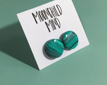Teal & White with Granite Glitter Marbled Clay Earrings