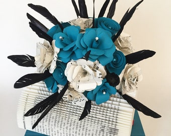 Paper bouquet with feathers / paper flowers / bouquet / wedding bouquet / Springs / notes / pages / Upcycling / recycling / bouquet