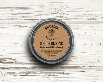 Cedarwood Solid Cologne in a Travel Tin, Vegan Cologne, Alcohol Free Cologne with cedarwood essential oil