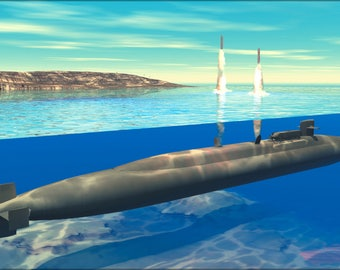 Poster, Many Sizes Available; Ohio-Class Submarine Launches Tomahawk Cruise Missiles (Artist Concept)