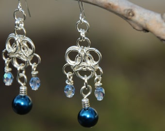 Aura Chainmaille Earrings, Silver Chainmaille, Silver N Blue Dangle Earrings, Chainmaille Earrings