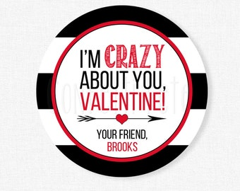 Crazy About You Valentine Tags, Valentine's Day Tag, Crazy String Tag, Red and Black Valentine Tag, Personalized