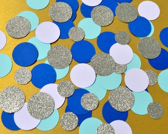 Birthday Confetti Party Decor Circle Table Confetti Party Decorations Blue and Silver Confetti Mix Party Table Decor