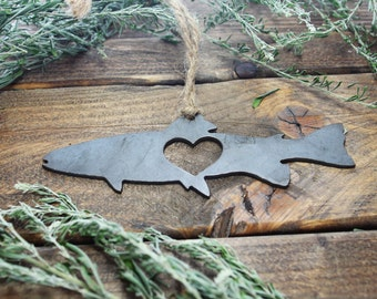 Trout Fish Love Rustic Metal Recycled Steel Heart Christmas Tree Ornament Holiday Gift Industrial Decor Wedding Favor By BE Creations