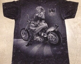 Vintage American Biker Sturgis Rally 1993 3D Emblem T-Shirt
