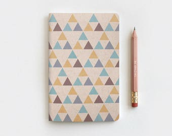 Handcrafted Gifts, Triangles Geometric Notebook & Pencil Set - Recycled Journal - Native American Inspired Gifts for Him