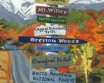 NH Signpost Poster, Crawford Notch Area, Mount Washington Resort, Bretton Woods, AMC Highland Center, White Mountains 11x17 or 8x12 print